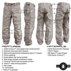 Kitanica Gen 2 FEATURES: • 13 pockets • 500D Cordura™ articulated knee reinforcement • Kitanica knee pad insert sleeves • PALS webbing • Expandable rear dump pockets • Expandable side cargo pockets w/ retention snap • Cordura™ reinforced hip pocket corners •  Velcro™ side cinching system • Multi-tool/mag sleeve w/ Velcro™ closure • Calf pockets   MATERIALS: • 6oz. 50/50 nylon cotton ripstop • 500 denier Cordura™ • Snaps: mil-spec 27 ligne (brass w/ black finish) • YKK™ zippers