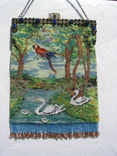 Micro Beaded purse with parrot and swans - jeweled frame - collection of Kathy Gunderson