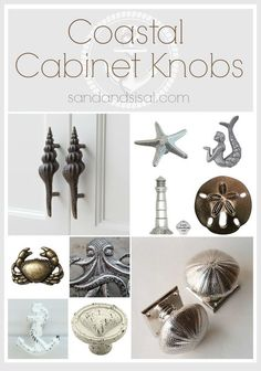 Coastal Cabinet Knobs and Pulls is part of Coastal cabinet Hardware - This creative selection of coastal cabinet knobs and pulls will dress up any beach cottage, seaside home, or coastal themed kitchen and bath Beach Cottage Style, Beach Cottage Decor, Coastal Cottage, Coastal Style, Coastal Decor, Coastal Fall, Seaside Decor, Coastal Colors, Romantic Cottage