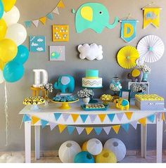 Best selection of DIY party supplies for kids and adults. Party planning profess… Best selection of DIY party supplies for. Cadeau Baby Shower, Idee Baby Shower, Mesas Para Baby Shower, Shower Bebe, Baby Boy Shower, Deco Elephant, Elephant Party, Elephant Theme, Elephant Baby Showers