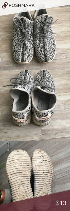 Women's Fashion Sneakers Well loved! But lots of life left in them. Just a bit dirty. The inside soles came out but they are still functional and comfy for all day wear! Yeezy look alike but in no way are they real or am I trying to pass them off as real. Size 39 fit an 8.5-9 best Shoes Sneakers