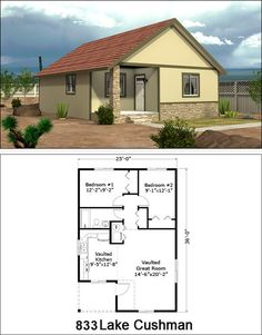 Fairway Homes West: Custom House Builders in Arizona - Affordable Custom Homes Built On Your Land in Arizona 2 Bedroom House Plans, Cabin House Plans, Tiny House Cabin, Dream House Plans, Tiny House Design, Cute Small Houses, Little Houses, Small House Living, Living Room