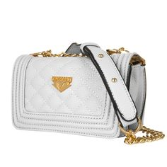 Cindy Shoulder Handbag Clutch for Asus Zenfone & Zenpad Smartphones, White. Cindy collection cross-body carrying bag with an elegant gold coated, shoulder strap chain. Compact yet large enough to accommodate your smartphone and other essential necessities. Crafted of quality leatherette material, complimented with an intricate, quilted stitch design. Adjustable cross-body strap   3 carrying options (Single, Shoulder cross body, and Hand carry). Exterior dimensions: 7.25in W x 4.5in L x...