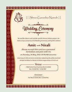 Indian Wedding Editable Hindu Wedding Invitation Cards Templates Free Download
