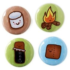 S'mores Camping Button Set by sugarcookie on Etsy, $7.00