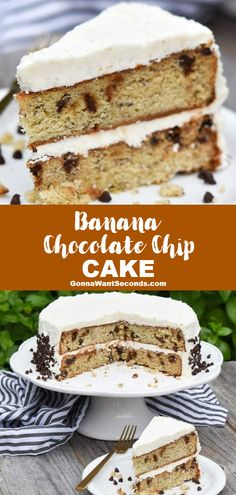 NEW Banana chocolate chip cake is a moist rich and abundantly scrumptious cake thatll change the nature of your entire relationship with banana bread. Easy No Bake Desserts, Dessert Cake Recipes, Delicious Cake Recipes, Frosting Recipes, Cupcake Recipes, Yummy Cakes, Sweet Recipes, Cupcake Cakes, Cupcakes