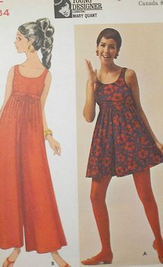 Vintage Pattern from the 1960's. Butterick #4779 Mary Quant Pantdress in 2 lengths. Sz 8 bust 31 1/2 waist 23 hips 33 1/2. Pattern has been cut and all pieces are present.