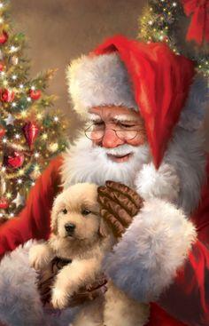 Happy Christmas Wishes, Merry Christmas Eve, Christmas Puppy, Christmas Scenes, Father Christmas, Retro Christmas, Christmas Pictures, Christmas Art, Beautiful Christmas