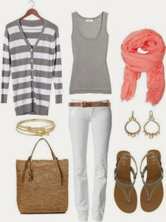 Grey and white cardigan, grey vest, scarf, white pants and earrings