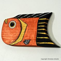 Reclaimed Wood Fish Art Painted Copper and Gold by by TaylorArts