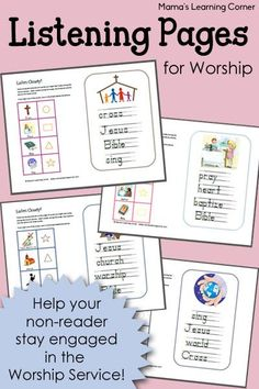Help your children stay engaged in the Worship Service with these Listening Pages! From the Scripture to the songs to the sermon!