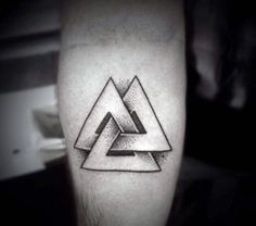 Awesome Guys Inner Forearm Dotwork Valknut Trefoil Knot Norse Tatoos