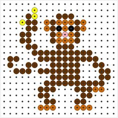 Kralenplank aap Melt Beads Patterns, Beading Patterns, Tiny Cross Stitch, Cross Stitch Designs, Graph Paper Drawings, Steampunk Dolls, African Jungle, Diy Perler Beads, Melting Beads