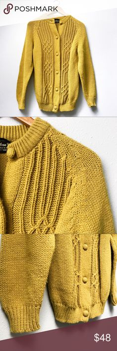 "Vintage Mustard Knit Sweater Vintage mustard yellow button-down cable knit sweater, thick-knit and featuring ribbed color, hem, and wrists as well as covered buttons. Fully Fashioned By Eileen. In excellent pre-loved condition; no visible flaws.  Underarm 2 Underarm: 19.5"" Shoulder 2 Hem: 28""  ✅Bundle & Save 🚫Trades 🚫Off-Posh 🚫Modeling  ✔️All measurements are closest approximation.✔️  💞Shop with ease; I'm a Posh Ambassador.💞 Vintage Sweaters"