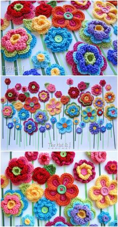 Crochet Flower Patterns Crochet Button Flowers Video Free Pattern Lots Of Ideas - Watch the Crochet Button Flowers Video and learn how to create your own quickly and easily. You will love this collection of free patterns. Crochet Flower Tutorial, Crochet Flower Patterns, Crochet Flowers, Knitting Patterns, Freeform Crochet, Crochet Motif, Crochet Crafts, Crochet Projects, Crochet Wall Art
