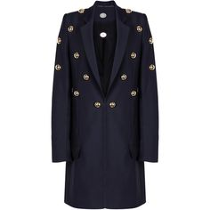 Anthony Vaccarello Gilded Cabochon Long Jacket ($3,385) ❤ liked on Polyvore featuring outerwear, jackets, anthony vaccarello, long blue jacket, longline jacket, long jacket and flap jacket