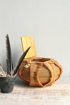 Vintage Folk Art Basket / Tramp Art Popsicle Art by ethanollie, $39.00