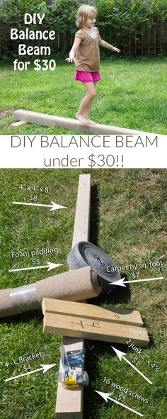 This DIY Balance Beam is so easy to make for the little gymnast in your life.  And it's under $30! - My Little Me: