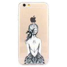 iPhone 6 Case, iPhone Case, JAHOLAN Amusing Whimsical Designs Clear TPU Soft Case Rubber Silicone Skin Cover for Normal inches iPhone - Henna Feather Girl