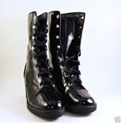 COLIN-STUART-Goth-Size-9-Black-Lace-Up-Ankle-Boots-Chunky-Heels-Patent-Leather