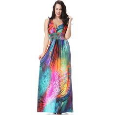Hot Sale Beach Bohemia Colorful Feather Flower Printed big size women clothes Sexy V-Neck Dress XL-7XL CM6040