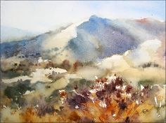 Watercolors by Maria Stezhko (Акварели Марии Стежко): Nevada Landscape