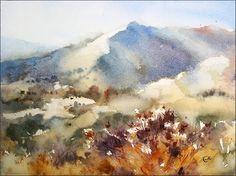 Watercolors by Maria Stezhko (Акварели Марии Стежко): Nevada Landscape
