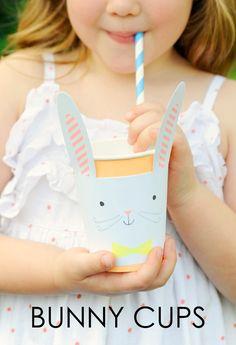 Bunny Cups - a cute printable Easter craft idea