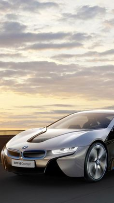 ♂ Silver concept car BMW I8 at sunset evening