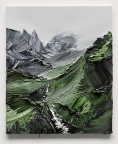 A painting of someone's interpretation of natural landscape. I think it's a beautiful painting and I would definitely hang it on my wall.