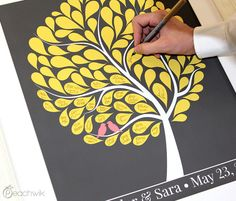 Wedding Guest Book Alternative - yellow leaves, light gray background, navy blue birds