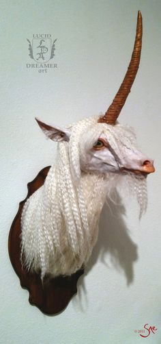 unicorn taxidermy - freakish and fascinating at the same time.