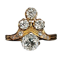 Belle Epoque Ladies' Diamond Ring   From a unique collection of vintage more rings at https://www.1stdibs.com/jewelry/rings/more-rings/