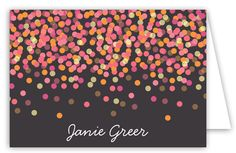 Perfect gift for the Grad: Charcoal Falling Confetti Folded Note Card Custom Stationery, Personalized Stationery, Calendar Pad, How To Fold Notes, Graduation Gifts, Note Cards, Confetti, Charcoal, Polka Dots