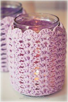 Love this - so old lady cute in the best possible way! Would like to see this crochet candle sleeve over a Candle Impressions Flameless Candle.