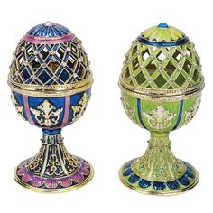 Features:  -Jeweled Trellis Eggs collection.  -Hand enameled.  -Lost wax casting.  -Hand jeweled.  Product Type: -Sculpture.  Style: -Traditional.  Subject: -Abstract and shapes.  Finish: -Blue, Green