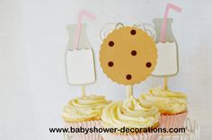 Yummy Cookies & Milk Cupcake Toppers - http://www.babyshower-decorations.com/yummy-cookies-milk-cupcake-toppers.html