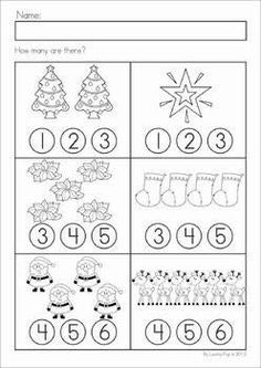 Werkblad rekenen: Christmas Math & Literacy Worksheets & Activities for Kindergarten. Lots of fun, interactive, no-prep pages for December. A page from the unit: count and dab how many Literacy Worksheets, Math Literacy, Preschool Learning, Kindergarten Activities, Preschool Activities, Kids Learning, Teaching, Christmas Worksheets, Theme Noel