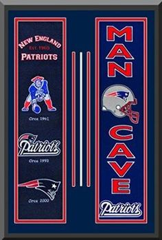 New England Patriots Heritage And Man Cave Banners Double Matted Framed Awesome & Beautiful-Must For A Championship Team Fan!