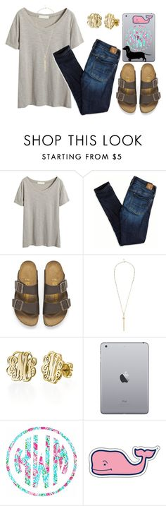 """goooood mornin' America!!//hannah\\"" by bamaprepsters ❤ liked on Polyvore featuring American Eagle Outfitters, Birkenstock, River Island, My Name Necklace, Lilly Pulitzer and Vineyard Vines"