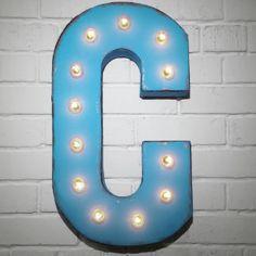 Custom 21 Blue Letter C Vintage Marquee Sign