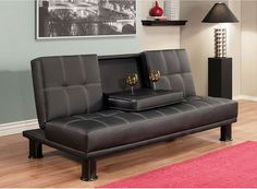 Man Cave Futon : Rita faux leather futon chair bed in black man cave