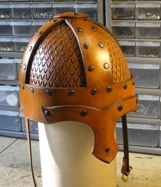 Leatherhelmet. Not authentic, but better than steel for the children.