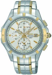 SEIKO SNAE74P1 COUTURA,ALARM CHRONOGRAPH,100M WR,BRAND NEW, SNAE74 Seiko. $169.00. Silver and gold tone stainless steel case and bracelet. Sapphire crystal glass. Alarm, chronograph and date displays. 10ATM water resistant. Silver dial with gold tone hour marks