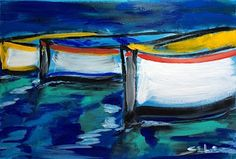 BOATS - abstract contemporary painting by Lidija Ivanek (SiLa) | DAILY PAINTING ABSTRACT