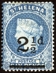 Helena 1893 Scott 47 2 on blue Type of 1856 Surcharged Colonial, Crown Colony, East India Company, St Helena, Vintage Stamps, King George, Stamp Collecting, Great Britain, Tatoos
