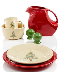 Fiesta® Christmas Tree Collection paired with coordinating Scarlet and Shamrock Fiesta® Dinnerware | Macy's