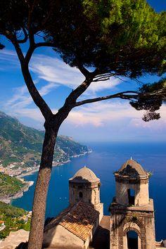 view from villa rufolo gardens, ravello, amalfi, campania, Italy