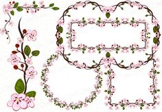 Instant download 300dpi png cherry blossom frames and borders clipart sakura vector decorations signs - shapes -circles - square - corners - logo design - printable wreath bouquet vector set wall decal garland. https://www.etsy.com/listing/245003577/instant-download-300dpi-png-frames-bloom?ref=listing-shop-header-3