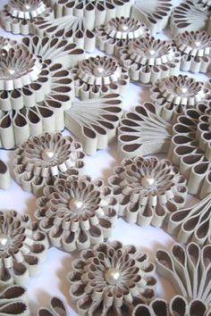 Detail, Untitled (wall Hanging) by British 3D textile designer Katherine Wardropper. Natuzzi leather, silk satin, Swarovski pearls, 70 x 70 cm. via the designer's site